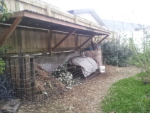 Covered compost and chicken run connection
